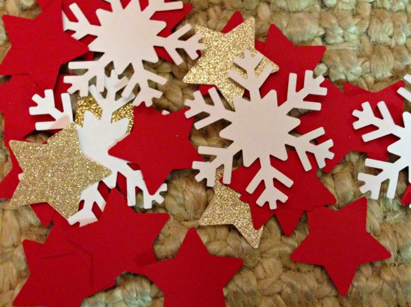 Cut out stars & snow flakes to add to the inside of the gift box.