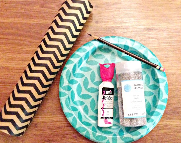 Supplies for DIY polka dot wrapping paper